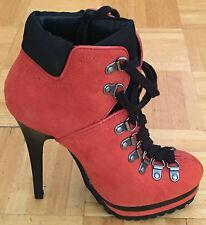 Xhilaration Lace Up Keava Heeled Ankle Boots Tangerine Size 7