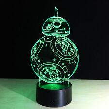 3D Nuit Lumière Lampe Acrylique Coloré  Star Wars BB-8 Cadeau Chambre Maison