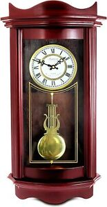 Wooden Grandfather Chiming Wall Clock Cherry Wood Finish Roman Numerals