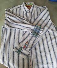 Spectacular Multi-Colored Striped ROBERT GRAHAM Mens 2XL 100% Cotton Shirt-Mint