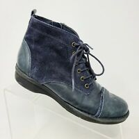 Clarks Blue Suede and Leather Casual Ankle Shoe Boots Women's Size 6 M Side Zip