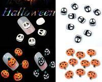 10Pcs 3D Halloween pumpkin Design Skull Nail Art Decoration Crystal Rhinestone