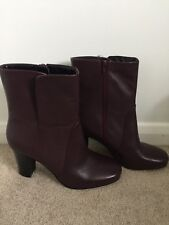 M&S Leather Heeled Boots, Size 7.5, Oxblood, BNWT
