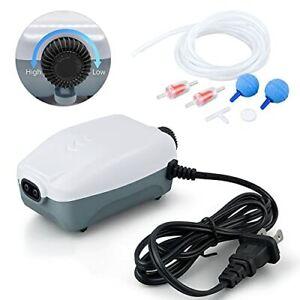 Dual Outlet Aquarium Air Pump Whisper Adjustable Fish Tank Aerator Quiet Oxyge