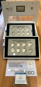 Korea 2018 PyeongChang Winter Olympics 16x 5000 won Silver Proof Coins Box & CoA