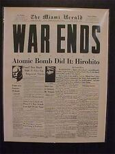 VINTAGE NEWSPAPER HEADLINE ~JAPANESE HIROHITO US ATOMIC BOMB ENDS WORLD WAR WWII