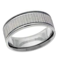 Platinum 14k 10k silver white gold wedding band ring mens 8mm wide swiss cut