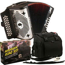 HOHNER PANTHER 31 BUTTON GCF DIATONIC ACCORDION + HOHNER ROAD KIT BAG, STRAPS