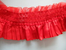 """Ruffle Pleated Lace Elastic Stretch Trim 2.5"""" 6.5cm **DIFFERENT COLOURS*** 1YARD"""