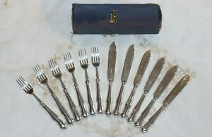 HARRISON BROS & HOWSON CHIPPENDALE ALPHA A1 EPNS FISH EATERS BOXED CUTLERY SET