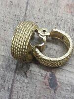 Designer Signed Vintage Monet Clip On Earrings small dangle hoop