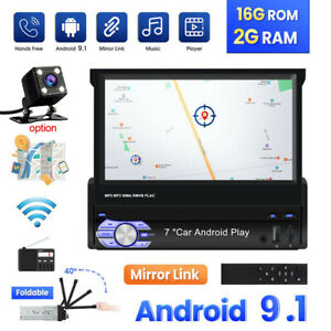 """Single 1 Din Android 10.1 Car Stereo FM Radio 7"""" Flip Out GPS Navigation Wifi"""