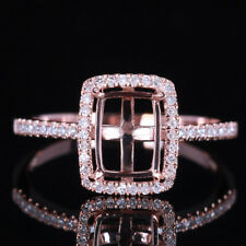 8X6mm Cushion/Emerald/Radiant Cut Semi Mount Diamonds Wedding Ring 10K Rose Gold