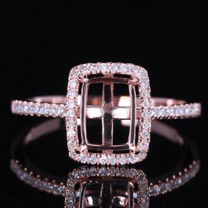 8X6mm Cushion/Emerald/Radiant Cut Semi Mount Diamonds Wedding Ring 10K Rose Gold
