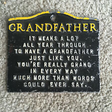 Vintage Cast Iron Kitchen Trivet Handy Hot Pad GRANDFATHER POEM chippy paint