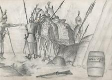 MEDIEVAL SCOTTISH KNIGHTS Victorian Pencil Drawing c1860 HENRY PERCY BEAUSIRE