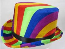 Top Hat Rainbow Colours 61cm - Fancy Dress Fun Novelty Party Metallic Satin