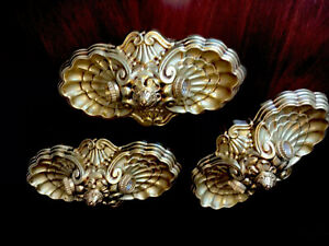 30s Antique Art Deco Shell Flush Ceiling Fixture Stamped Brass Antiqued 2 Light