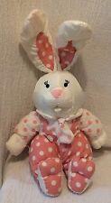 Plush International Silver Nylon Pink White Bunny Rabbit Polka Dots 1993