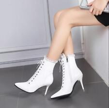 Womens PU Leather Stilettos High Heel Ankle Boots Lace Up Pointed Toe Shoes