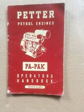 PETTER PA & PAK PETROL ENGINE ORIGINAL 1959 OPERATORS HANDBOOK