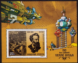 """HUNGARY 1978 JULES VERNE AND """"VOYAGE FROM EARTH TO MOON"""" SCOTT C408, VF, MH"""