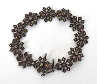 925 Sterling Silver Marcasite Snowflake Bracelet Vintage