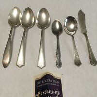 6  1847 ROGERS BROS. ADORATION SILVERPLATE FLATWARE 6 Spoons 1 butter knife 1939