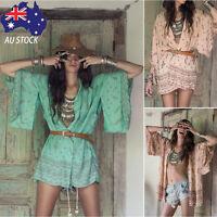 Women Boho Print Chiffon Loose Shawl Kimono Cardigan Top Cover up Blouse