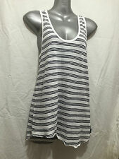 BNWT Sz 12 Womens Bonds Smart Grey/White Stripe Stretch Scalloped Hem Tank Top