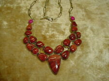 Polished Jasper Cluster Necklace w/ 925 Silver settings- 18""
