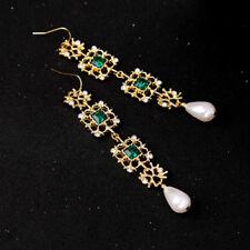 orecchini Dorato Lungo Cesellato Pizzo Verde Smeraldo Perla Matrimonio AA22
