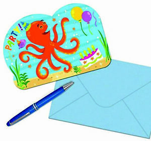 8x Ocean Buddies Birthday Card Invitations Childerens Party With Envelopes Kids