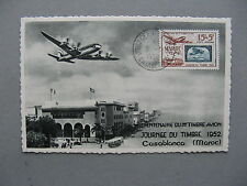 MOROCCO, maximumcard maxi card 1952, Stampday  aeroplane stamps on stamps