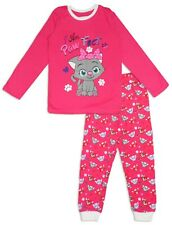 Girls Kids Bright Pink Cotton Pajama Pyjama Set PJs Jammies Sleepwear Nightwear