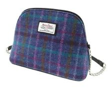 Ladies Authentic Harris Tweed Small Shoulder Bag Purple Check LB1120 COL 51