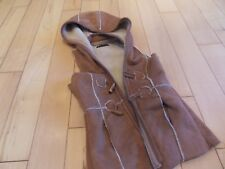 Zara Ladies Faux Suede Look Hooded Waistcoat Small