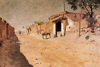 Oil painting William Merritt Chase - Spanish Village with donkey in view canvas