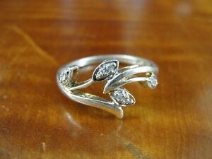 Leaf Vine with Cubic ZIrconia Sterling Silver 925 Ring Size 7