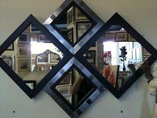 NEW LARGE MODERN BLACK/SILVER DIAMOND WALL MIRROR 115 X 86 CM