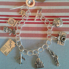 HAND MADE Holiday Travel, Gap Year, Emigrating Gift Silver link charm bracelet