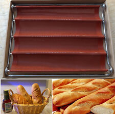 Silicone French Bread Baguette Pan Bakeware Makes 4 Loafs Baking Tool LD441