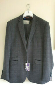 Cavani Burnaby Suit Mens Tweed Check Blue Grey 3 Piece Size 46R Brand New