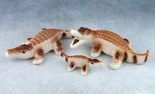 Vintage Bone China Miniature Set of 3 Alligator Family Figurines Glossy Finish