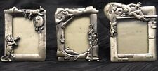"""Vtg 3 Metal Picture Frames Humpty Dumpty Cat and Fiddle Little Bo PeeP 3""""x2.5"""""""