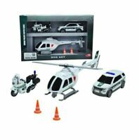 MAJORETTE Dubai police SOS set special edition car, motorcycle, helicopter GIFT