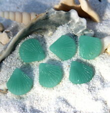 Small Clam Shell Pendant Beads, Lt Opaque Green w/ Sea Glass Finish, 21mm, 2 Pcs