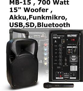 Mobile Beschallungsanlage HOLLYWOOD MB-15 , Akku, Funkmikro, SD/USB ,Karaoke