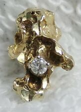 Vintage 14k Yellow Gold .05ct Diamond on Nugget Drop Pendant Ladie's Charm