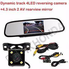 Dynamic track 4 LED reversing camera +4.3 inch 2AV rearview mirror